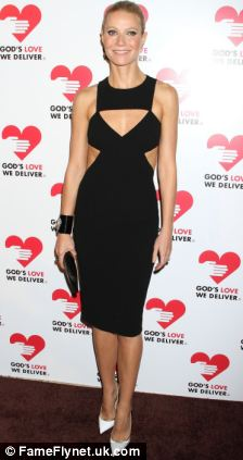 Gwyneth Paltrow in a LBD with white stilettos