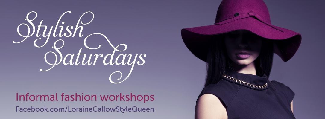 Stylish Saturdays banner showing elegant woman in plum hat
